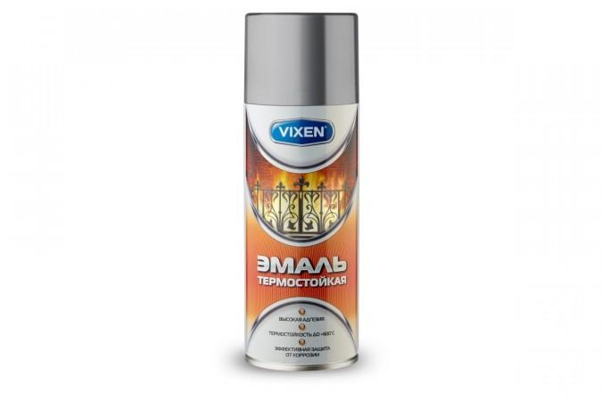 Термостойкая эмаль VIXEN VX-53000 серебристая, аэрозоль, 520 мл